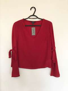 Bnwt Red Bell Sleeve Top