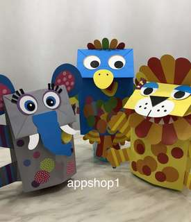 Children art project, DIY paper bag puppet - goodies bag gift, goody bag packages, party games