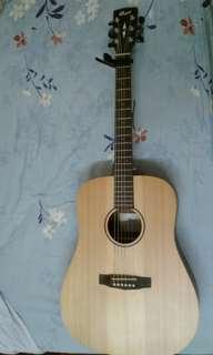 Mahagony acoustic guitar and free capo