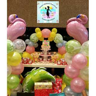 Flamingo & Tropical Flowers Theme Cake, Cupcakes, Cookie & Marshmallow Pops, and Balloon Decors for a Baptismal Party