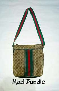 Authentic Gucci Red Green Line Sling Bag
