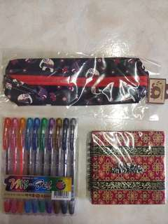 Elephant Memo Pad and Pencil Case + Dong A pens