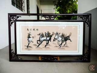PF003M Eight horses embroidered painting in good wooden frame