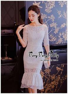 Luxurious White Embroidered Lace Dress