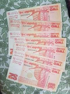 7 x $2 dollar notes - ship
