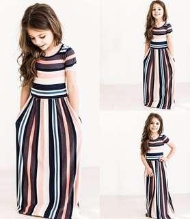Hari Raya Short sleeved striped dress for girls