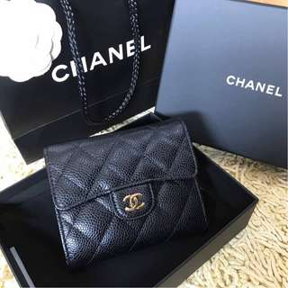 Chanel Compact Short Wallet in Black Caviar with GHW
