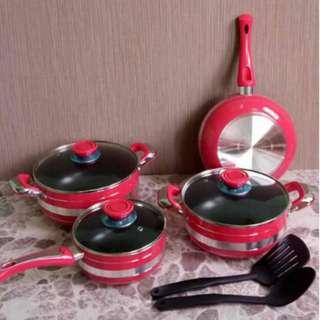 Pink Rose 9 Pcs Cookware Panci Set Emerald Premium Serbaguna