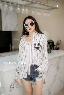 👑 double stripe shirt By Berry Chic