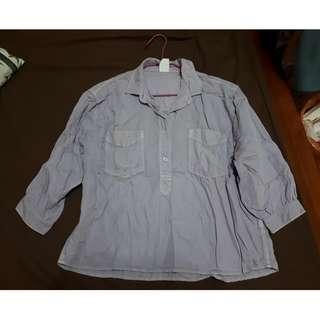 H&M藕紫色卡其舒適寬鬆七分袖落肩襯衫
