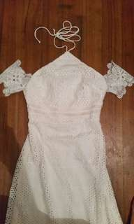 Off white lace dress halter neck tie up off sholder arms