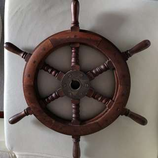 Genuine Wooden Boat Steering Wheel (NOS)