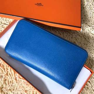 Hermes Epsom Zippy Long Wallet in Blue