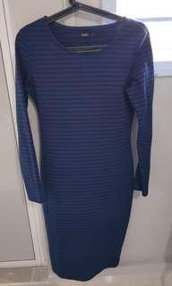 Navy blue stripes bodycon dress size l