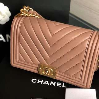 Brand New Chanel Boy Old Medium Pink Calfskin with GHW