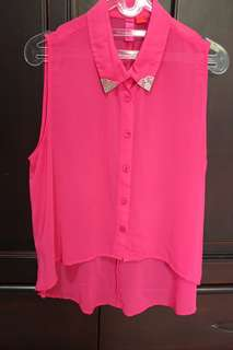 F21 Pink Sheer Top