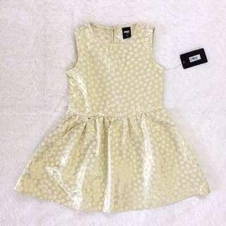 Max girls gold polka dress