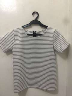 Stripe top with back zipper