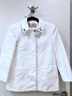 Zara Collar Jacket with Diamanté, WHITE, XS