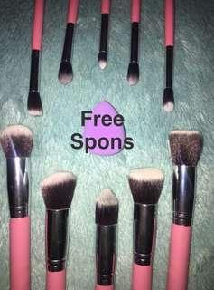 FREE Beauty Spons ~ Kabuki Brush Set Isi 10