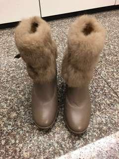 特價:SM駝色真皮兔毛短筒靴