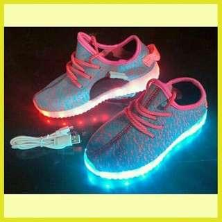 Sepatu adidas yeezy led nyala lampu anak perempuan cewek terbaru 2018 murah branded pink