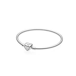 """SILVER BANGLE WITH HEART-SHAPED CLASP, CLEAR CUBIC ZIRCONIA AND ENGRAVING """"FAMILY FOREVER"""""""