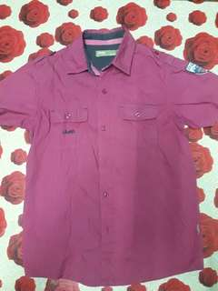Jeep Maroon Coloured shortsleeves shirt