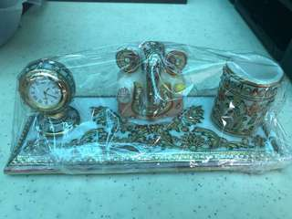 Table top ganesh clock and pen stand decorative ethnic gift marble