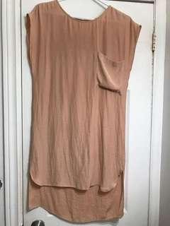 Oak and Fort crepe silk dress (peach)