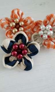Flower Brooch fabric material