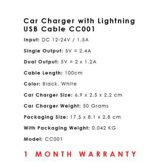 Car Charger with Lightning USB Cable CC001