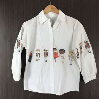 Cats 3/4 Sleeve Button Down