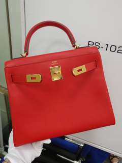 Hermes kelly 28 X stamp rough tomato
