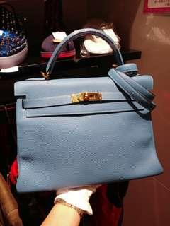 Hermes kelly 32 bluejeans