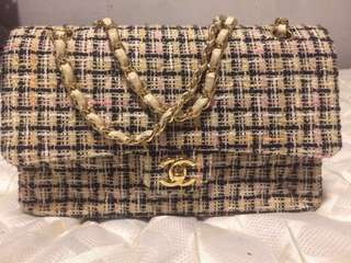 100% Authentic Chanel Tweed Double Flap