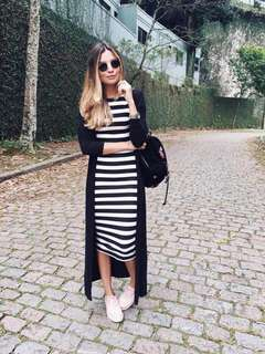 Long Cardigan & Striped Dress