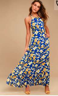 Yellow and Blue Floral Halter Maxi Dress