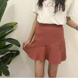 韓妞玫瑰紅可愛魚尾裙!