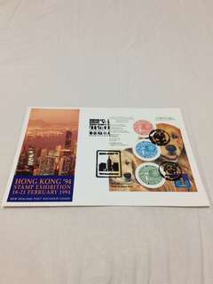 (Brand New, Original) Hong kong 94 stamp exhibition 18-21february 1994.  New zealand post souvenir cover (Straight Version)  (全新,直板) 1994年新西蘭郵票 stamp 首日封  新西蘭出品  Made in New Zealand 🇳🇿