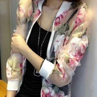 《外套》韓系沙網印花遮陽外套