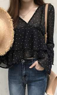 Black crop ruffle blouse (Korean inspired)
