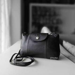 Authentic Longchamp Le Pliage Black Cuir Crossbody Bag