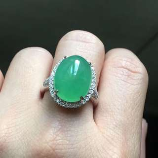 18K鑽石天然A貨大綠蛋戒指