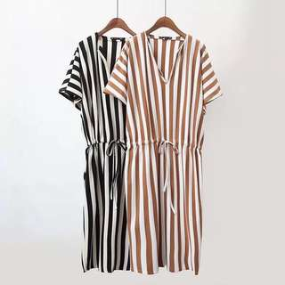🚚 Europe and the United States wind 2018 summer new women's fashion wild striped long dress
