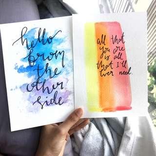 Watercolour Cards [Customizable]