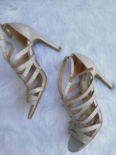 Silver glittered heels