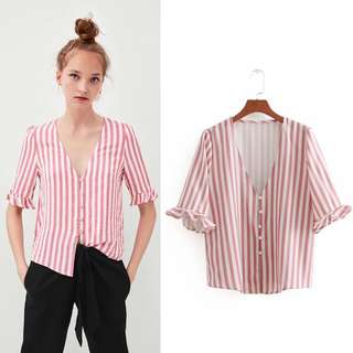 🚚 Women's 18 Summer Stripe Thin Sleeve V-Neck Button Blouse