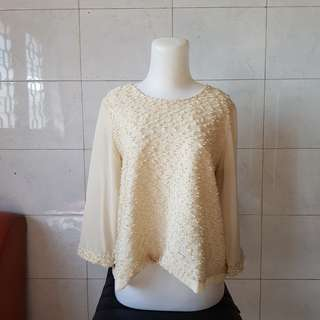Cream Sheer Blouse Bigsize. LD 115