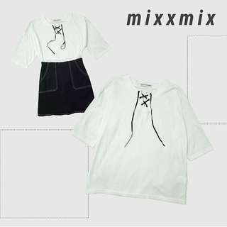 mixxmix lace up top + skirt